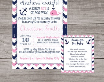 Nautical Baby Shower Invitations for a Girl - Pink Whale Invitations - Anchors Away - Summer Baby Shower - Printed Invitations 216
