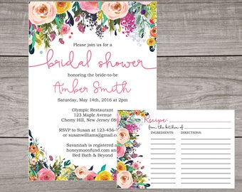 Floral Bridal Shower Invitation and Recipe Card - Watercolor Flower Invitation - Spring Bridal Shower Invitation -  Bridal-154