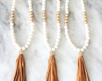 Vintage Leather Tassel Necklace