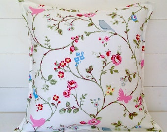 "Cushion Cover, Bird Trail Cushion Cover 16"" 18"" 20"", Pillow Case, Birds, Butterflies, Scatter Cushion, Scatter Pillow, Floral Pillow"