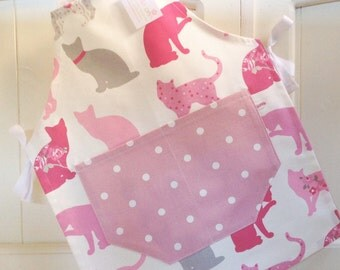 Child's Apron, Child's Cats Apron, Child's Apron, Pink Dotty Apron, Mother and Daughter Gift Idea, Child's Spotty Apron, Pink Apron, Baking