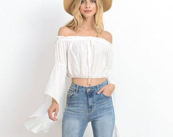 Women Off Shoulder Crop Tops Long Sleeve