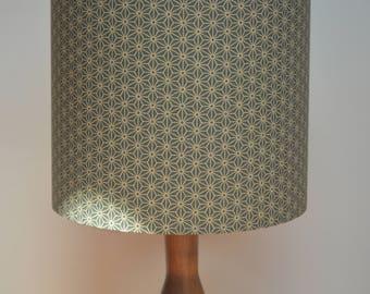 Handmade drum lampshade - repeated geometric star pattern fabric  - bronze and white