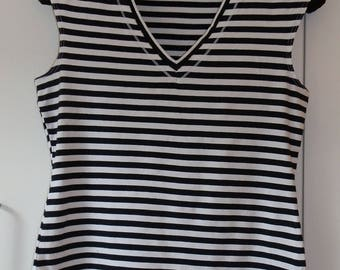 Vintage 1990's NEXT Black and White Striped Sleeveless V-Neck Top UK Size 8 / US Size 4