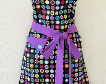 Retro Apron for Women Mothers Gift for Cooks Funky Apron Crafters Gift Kitchen Linens Purple Black Custom Apron KitschNStyle