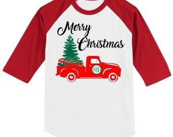 Monogrammed Christmas Vintage Truck T Shirt 3/4 slv Raglan white/red, black, green