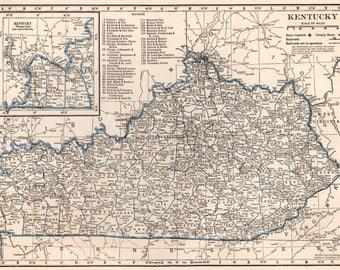 Vintage Kentucky Map Etsy - Us map 1930
