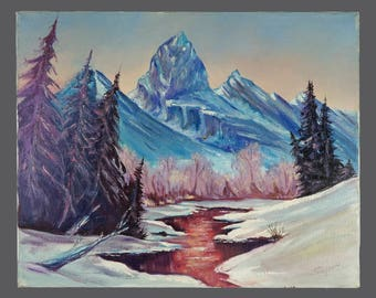 Vintage Oil Landscape Painting Signed Art Vintage Frozen Stream Winter Forest 16 x 20