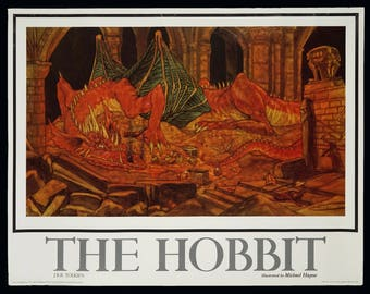 1985 The Hobbit Lord Of The Rings Michael Hague Smaug Dragon Poster Genuine Original Print J. R. R. Tolkien