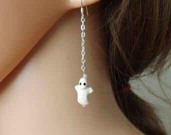Ghost earrings, ceramic earrings, Halloween earrings, spooky jewellery, phantom earrings, scary cute earrings, quirky jewellery, fun earring