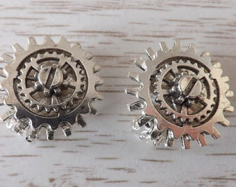 Clip-on Steampunk earrings, clipon cog earrings,  unpierced steampunk earrings, clip-on Cyberpunk earrings, non-pierced steampunk earrings