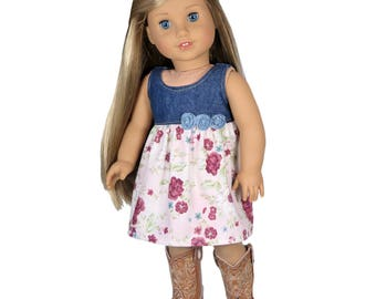 Fits Like American Girl Doll Clothes.  Denim and Roses Dress.