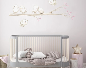 Fabric Wall Decal, BIRDS In The BRANCH, Girlu0027s Wall Decal, Watercolor Decals , Part 75
