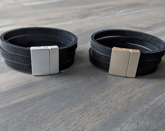 Glove Leather Bracelet- Black Triple