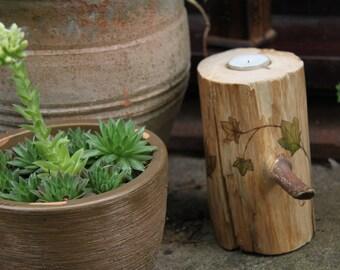 Log Candle holder - Ivy pattern