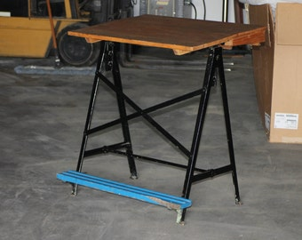 Mid Century Vintage Drawing / Drafting Table Wood And Metal