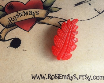 Red 1940s Style Leaf Brooch, Carved Bakelite Style Pin, Mid Century Modern, Vintage Style Novelty Brooch By RosieMays