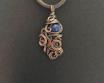 Lapis Lazuli Copper Wrapped Pendant Necklace