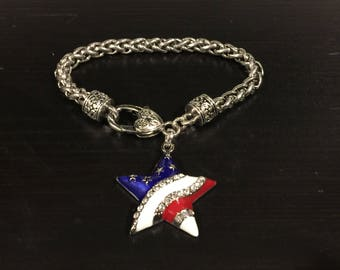 USA Flag Patriotic Star Charm Bracelet great for 4th of July