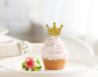 CROWN glitter cupcake topper set of 12 - birthday / baby shower / prince princess theme / party decoration