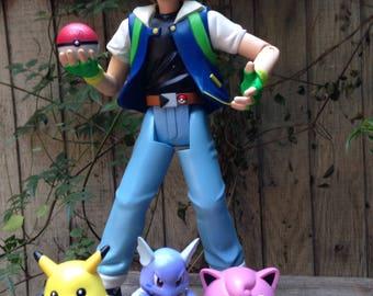 Rare Original Pokemon Nintendo Hasbro Talking Ash Action Figure with Pikachu Wartortle Jigglypuff, Vintage Pokemon Toys, Hasbro Pokemon Toys