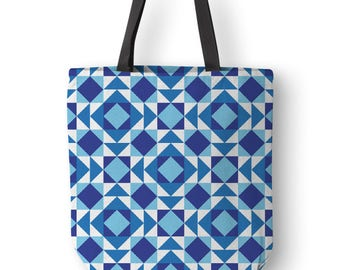 Geometric blue canvas bag, Modern tote with black straps, Mini tote bags, Cool, Shoulder Bag, Gift for her, Hippie bag, Diaper, Boho.SP041C1