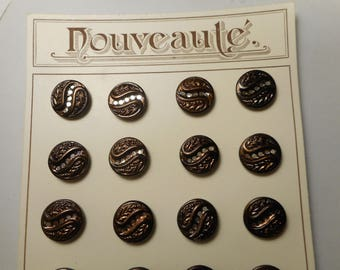 """Antique Buttons Lot of 8 Matching Brown-ish Tint Brass Victorian Twinkle Liner 9/16"""" VK"""