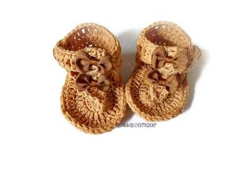 Brown Baby Flip Flops, Baby Sandals, Brown sandals, Crochet Baby Flip Flops, Summer Baby Shoes, Crochet Baby Sandles, Girl Sandles