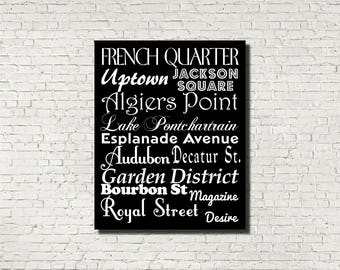 New Orleans Neighborhoods Subway Sign - Typography Print - Modern Home Decor - Art Poster Wall Art Aged Vintage Finish