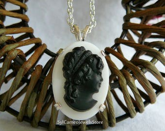 Jet Black Lady Profile Cameo Pendant Necklace White Milk Glass Sterling Silver SylCameoJewelsStore