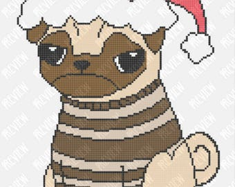 Bah Hum Pug! | Christmas Pug Dog |Counted Cross Stitch PDF Pattern | Instant Download