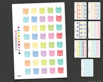 Birthday Icons -  Planner Stickers  - Repositionable Matte Vinyl - Gift Icons - Birthday Reminders