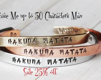 Sale 25% off Customized bracelet, personalized bangle, choose your wording, personalized jewelry, hand stamped, bespoke gift,