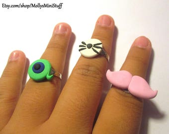 Handmade polymer clay Youtubers ring set (Jacksepticeye, Markiplier, and Dan and Phil)