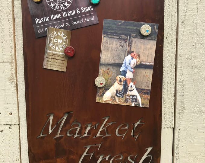 Market Fresh Magnet Board, Magnetic Boards, Bulletin boards, Office Message Board, Rusted Metal, Market Sign, Rustic Organizational Board