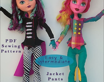 """MAD BAZAAR Jacket, Pants, Top Hat Doll Clothes Sewing Pattern for 17"""" Fashion Dolls like Monster High, fits Gooliope - Instant PDF Download"""