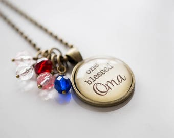 Oma Pride Necklace - Blessed Necklace Birthstone Jewelry One Blessed Oma Pendant Text Jewelry Custom Necklace Name Mothers Day Gift