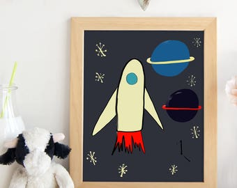 PRINTABLE.Nursery decoration. Outer Space printable. Rocket ship. Planets. Outer Space Nursery.