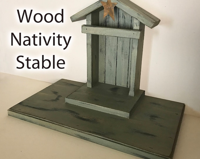 STABLE CRECHE for Demdaco Willow Tree Angels Nativity, Distressed Barn Wood, Christmas Decor, Burgundy Green White Manger Stables fits Angel