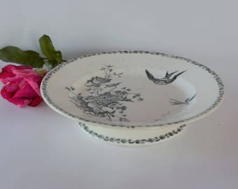 Vintage French ceramic Cake Stand - Fruit Bowl – Serving Dish - Cupcakes - Plate - Faience - Transfer motifs - Shabby Chic