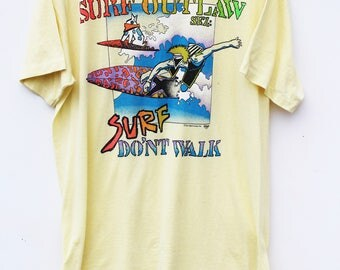 80s Surf Graphic Tee / Men's LARGE L / Pastel Yellow with Neon / Free Shipping