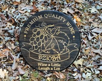 Unique Wine Gift Vineyard Sign Wine Merlot Wedding Gift Personalize Bar Sign Wine Cellar Wine Barrel Winery Sign Custom Wood Wine Grape