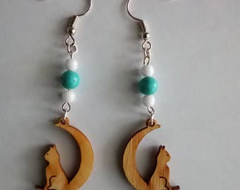 Earrings cat sitting on Moon turquoise beads and Czech beads