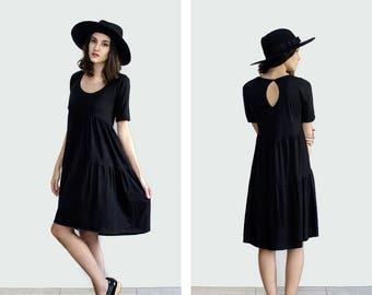 Black Smock Dress, Black Midi Dress, Loose black dress, Babydoll Dress, Boho bridesmaid dress, plus size dress