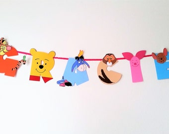 Winnie the Pooh Banner, Pooh Bear and Friends, Happy Birthday Banner, Disney Winnie the Pooh, Tigger Banner, Party Banner, Handmade Banner