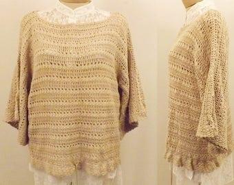 Vintage 70's J M Pink Hand Crochet Cotton Sweater Shell Size M
