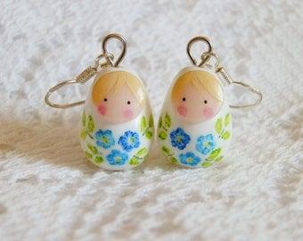 """Russian dolls """"bouquet of flowers"""" earrings"""
