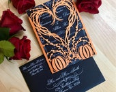 Pumpkin Heart wedding invitation gatefold laser cut autumn fall halloween party wreath outdoor invite