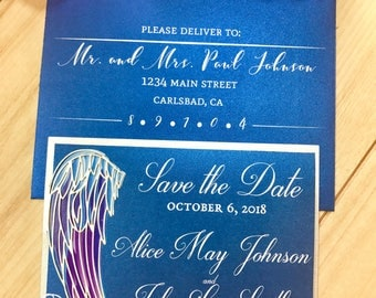 Angel Wing Save the Date card laser cut pocket for Angelic wedding Special event