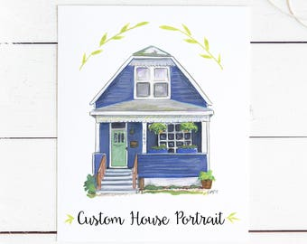 Custom Hand Painted House Portrait Original Artwork Painting 8x10 New Home Commission